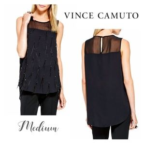 NWT Vince Camuto Black Feather Blouse Size Medium